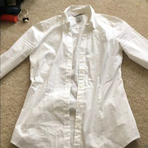 H and m white button down work shirt